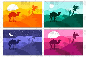 Sand desert panorama (palms & camel)