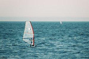 Windsurfer in the sea, autumn windsu
