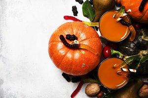 Halloween background with pumpkin ju