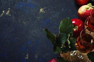 Apple brandy, dark background, top v