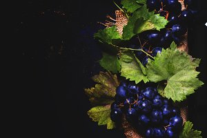 Red wine in bottle and blue grape, b
