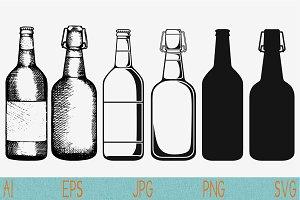 bottle of beer set vector svg png