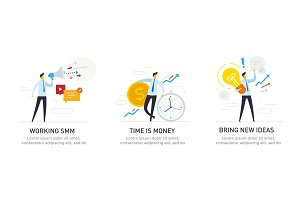 Illustrations with businessmen