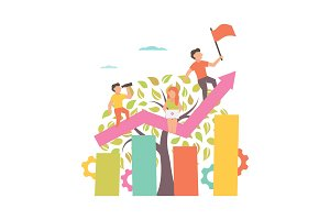 Growing business. Flat illustration.