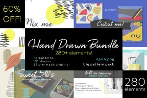 Hand drawn patterns bundle.