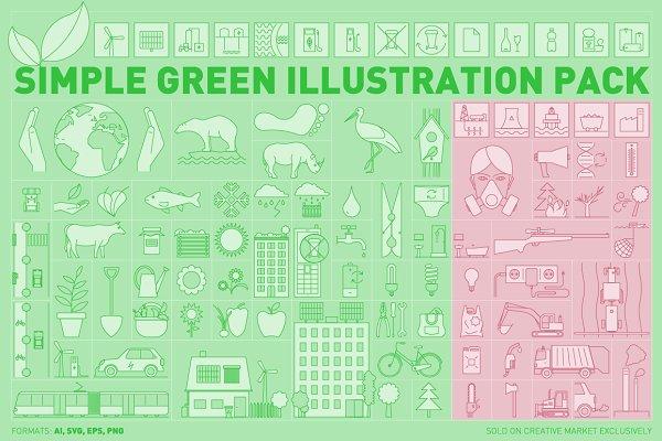 Simple Green Illustration Pack