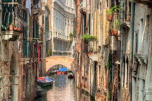 Romantic narrow canal in Venice