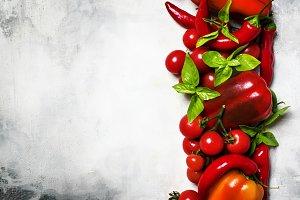 Red vegetables, food background, top