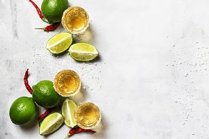 Tequila with lime, salt, red hot pep
