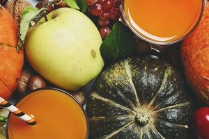 Pumpkin juice, autumn harvest of veg