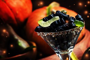 Halloween black candy cats in a glas