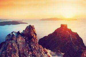 Cliff & volcanic rocks on Santorini