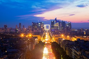Paris at sunset, France