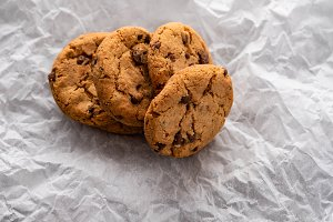 Chocolate chips cookies with a slice