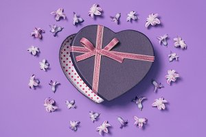 top view of heart shaped gift box wi