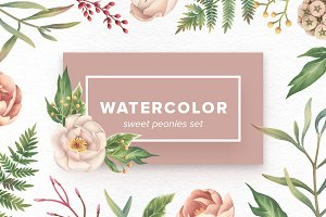 Watercolor Sweet Peonies Set