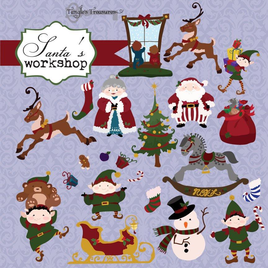 Santa\'s Elves Christmas Clipart ~ Illustrations ~ Creative Market