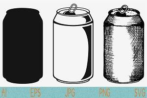 aluminum can beer, set vector svg