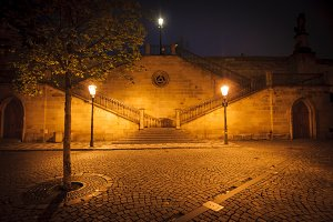 Night street with stairs