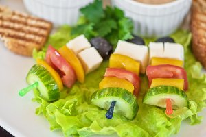 toast with cheese vegetables and