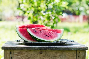 Watermelon slices in the garden
