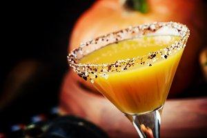 Fresh halloween  cocktail on a dark