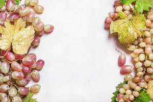 Green and pink grapes with vine and