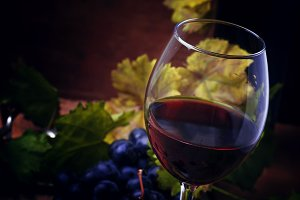 Red wine from grape varieties merlot