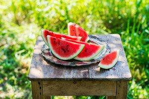 Watermelon slices in the garden