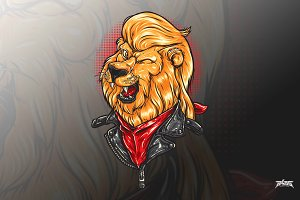 Cool Lion Biker Vector