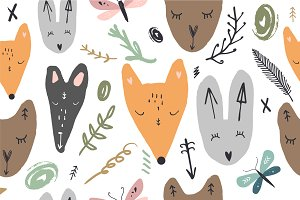 Vector stylized animals pattern