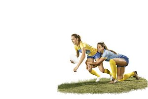 The young female rugby players