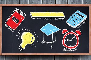 education drawings on blackboard for