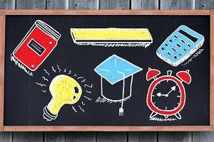 education drawings on blackboard for