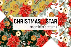 Christmas Star - seamless pattern