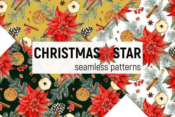 Christmas Star - seamless pattern
