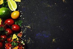 Mexican Food Concept, Nachos, Salsa