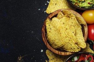 Tex-Mex Concept, Nachos, Guacamole,