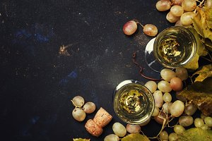 Champagne In Glasses, Grapes With Vi