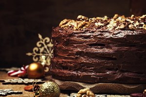Christmas chocolate cake with nuts,
