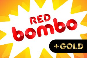 Bombo color fonts: Red, Gold, Silver