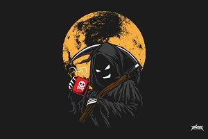 Grim Reaper Drinking Coffee