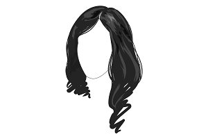 Monochrome hairstyle line art vector