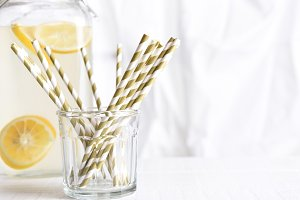 Drinking Straws and Lemonade Pitcher