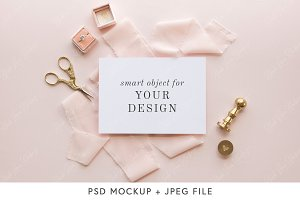 Invitation Mockup- Blush Stock Photo