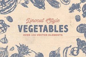 Vegetables (Linocut|Vintage) +Bonus
