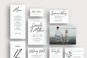 Typography brush script invitations
