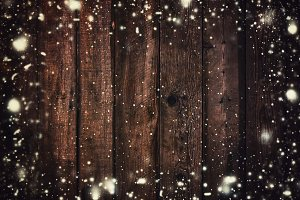 Wooden Texture With Snowflakes, Chri