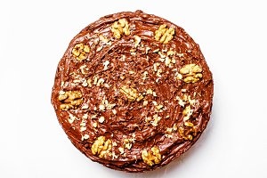 Homemade chocolate cake with nuts, w