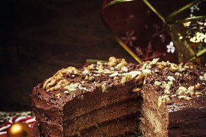 Sliced Christmas chocolate cake with